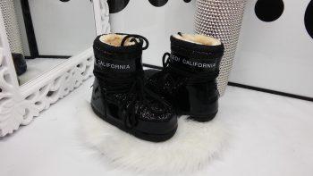 Луноходы женские Moon Boot Californiaс эффектом битого стекла ( Черные)