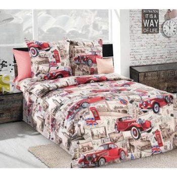Полуторное постельное белье Ретро машинки ТМ Дама