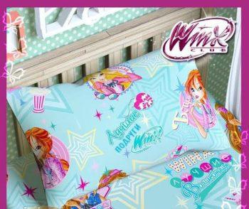 Полуторное постельное белье Винкс на бирюзовом ТМ Дама