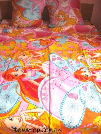 Полуторное постельное белье Винкс сердца  ТМ Дама