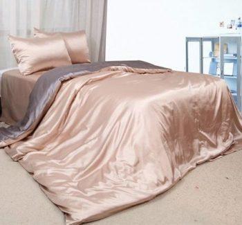 Серебряно-золотое атласное постельное белье