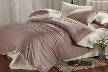 Жемчужно-лиловое атласное постельное белье