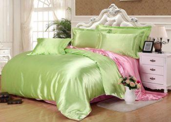 Оливково-розовое  атласное постельное белье
