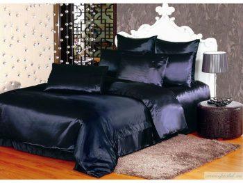 Темно-синие атласное постельное белье