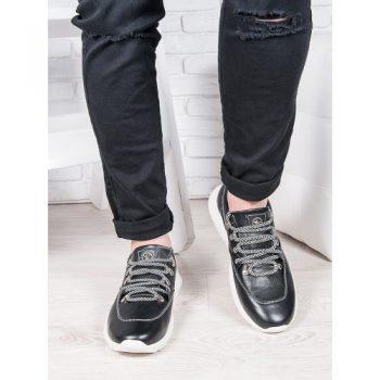 Мужские кожаные кроссовки черный 6891-28