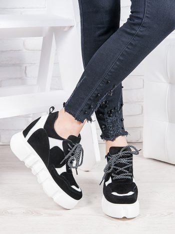 Женские кроссовки Сникерсы на высокой подошве 6848-28