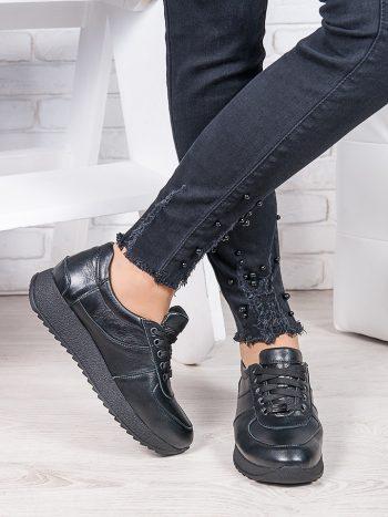 Женские кроссовки  кожаные черные   6920-28