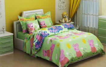 Полуторное постельное белье   Свинка Пеппа на зеленом ТМ Дама