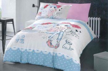 Полуторное постельное белье Девочка с котиком   ТМ Дама