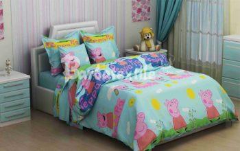 Полуторное постельное белье Свинка Пеппа на  голубом ТМ Дама