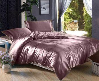 Лиловое атласное постельное белье