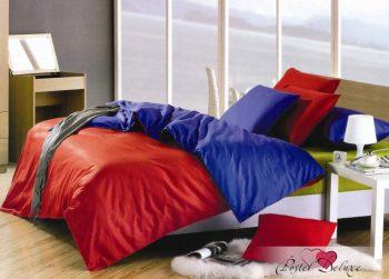 Электро-красное атласное постельное белье
