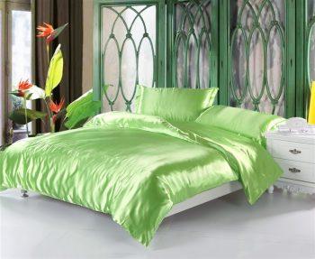 Оливковое  атласное постельное белье
