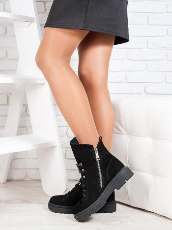 Ботинки  женские  черный нубук 6719-28
