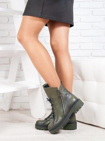 Ботинки женские оливка кожа 6720-28