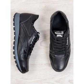 Мужские черные кожаные кроссовки  6667-28