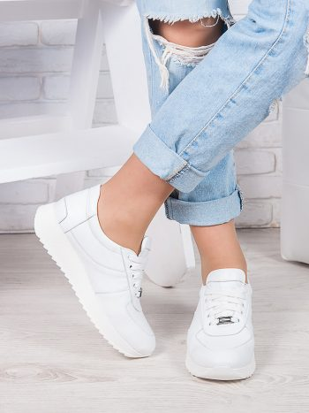 Кроссовки кожаные белые   6919-28