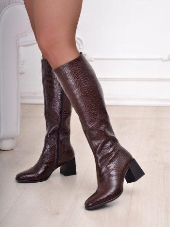 Сапоги Ботфорты   Натуральная кожа питон коричневый 0124S (624)